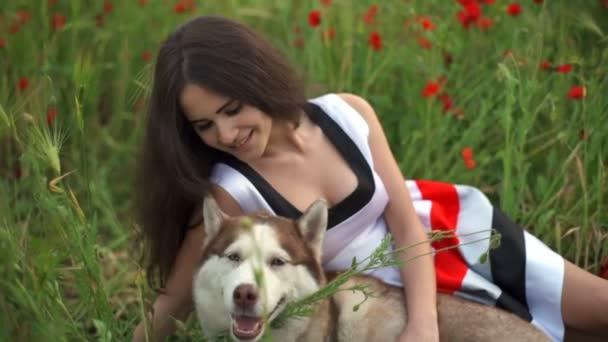 fiatal női és husky kutya rejlik pipacs mező lassú mozgás