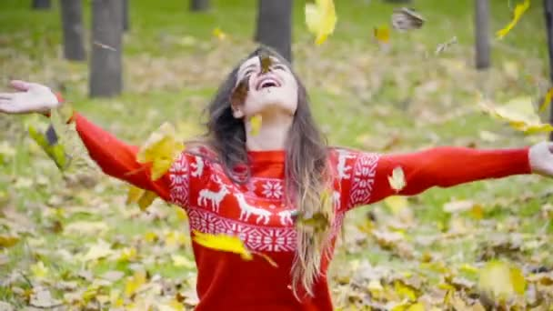 young couple throwing up the fallen leaves in the park slow motion