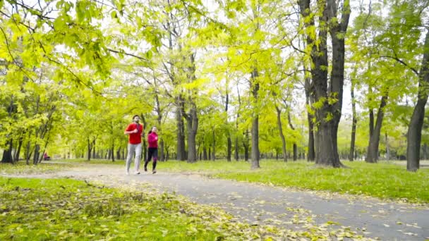smiling couple jogging in the autumn park slow motion