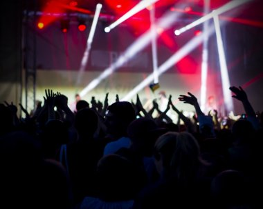 Photo of young people having fun at rock concert, active lifestyle