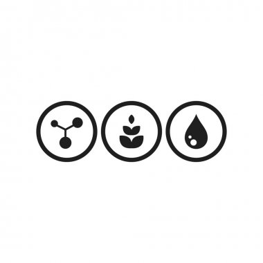 Protein, carbohydrates and fat simple icons in circles. molecule sign. Skeletal chemical formula. Diet, food balance symbol. Vector illustration isolated on white icon