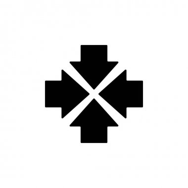 Four black squared arrows point to the center. Triple Collide Arrows icon. Merge Directions icon. Vector illustration. Isolated on white. back and white icon