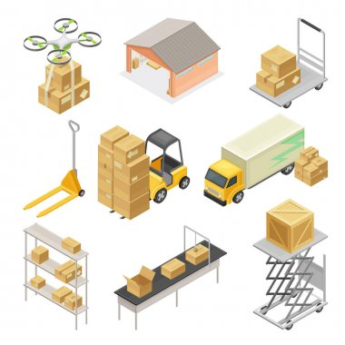 Warehouse as Area for Goods Storage and Logistics with Forklift Moving Cardboard Boxes and Drone Delivering Parcel Isometric Vector Set
