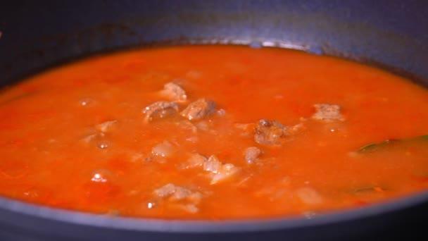 Maďarská kuchyně je guláš. rajčatová omáčka v bolestech vaření. S cibulí, rajčaty, paprikou, masem, bobkovým listem