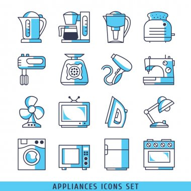 16 linear icons set vector for web illustration blue