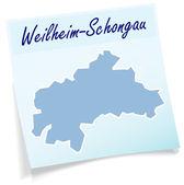 Fotografie mapa de weilheim schongau como nota adhesiva