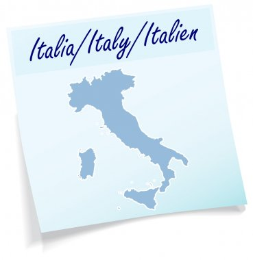 Map of Italy as sticky note