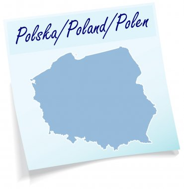 Map of Poland as sticky note