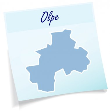 Map of Olpe as sticky note
