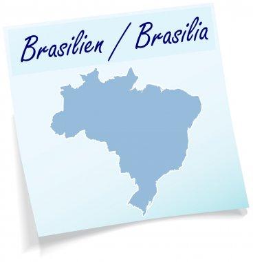 Map of Brazil as sticky note