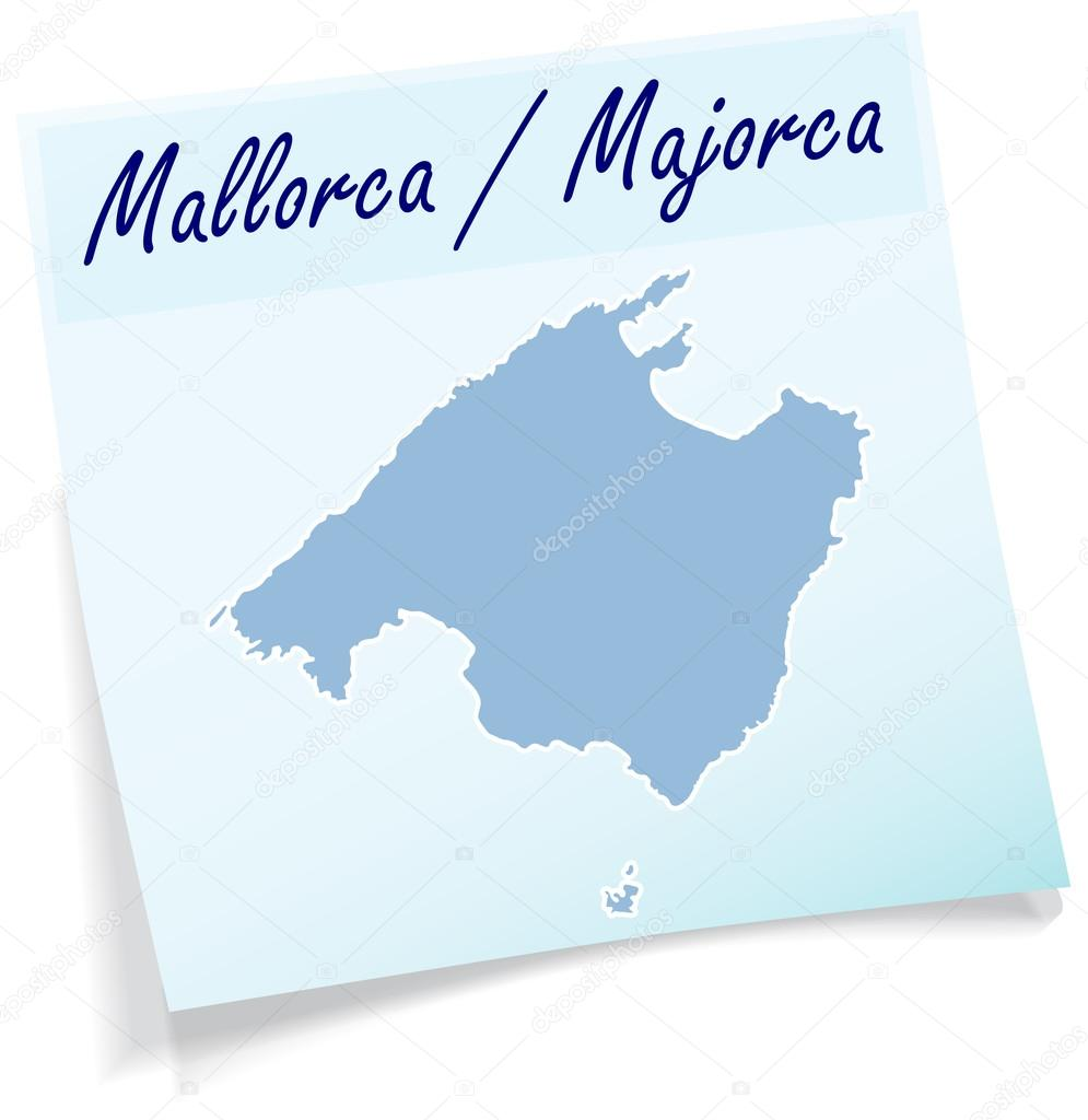 Map of mallorca as sticky note — Stock Vector © artalis #52935417