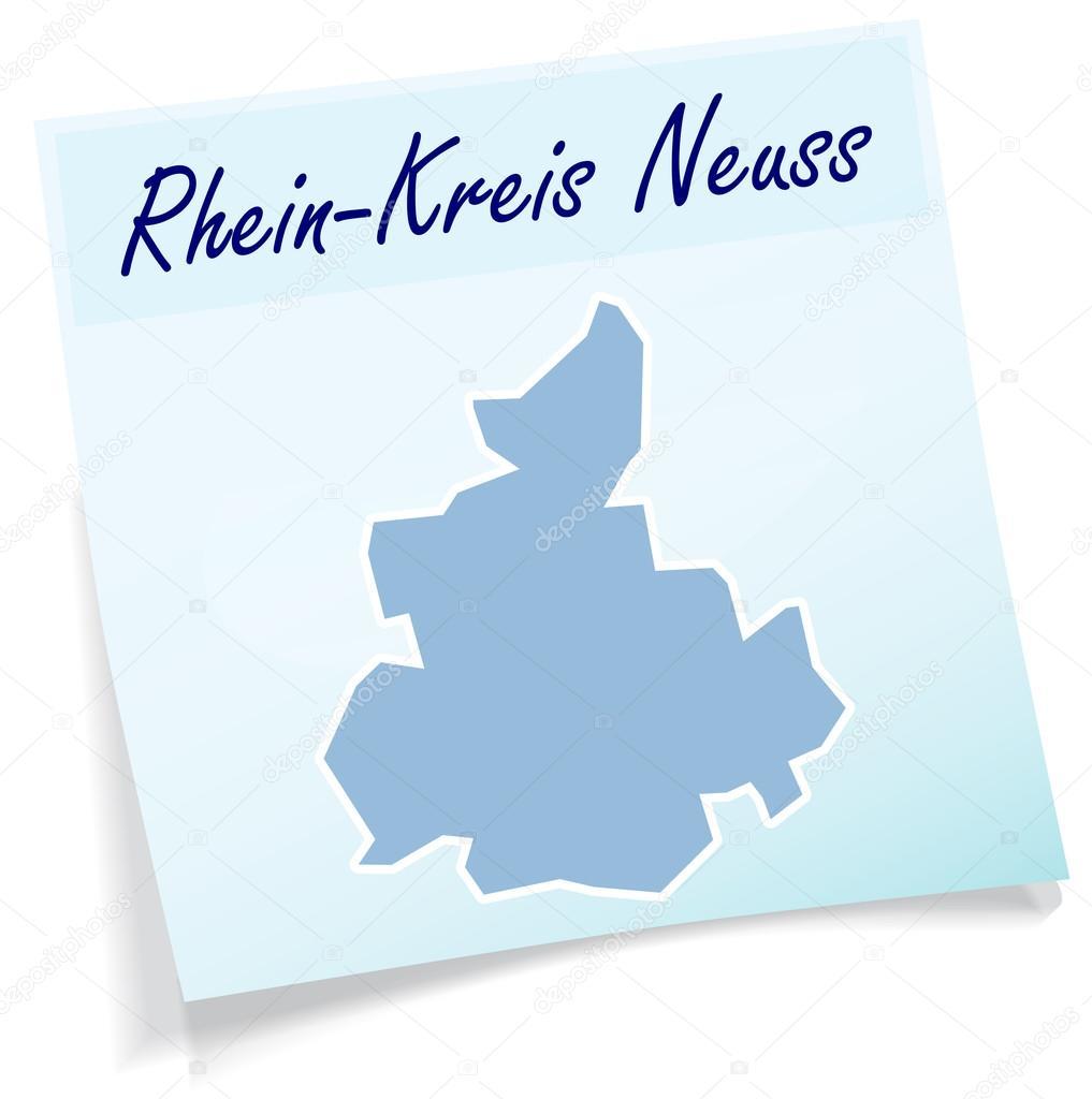 Map of RheinKreisNeuss as sticky note Stock Vector artalis