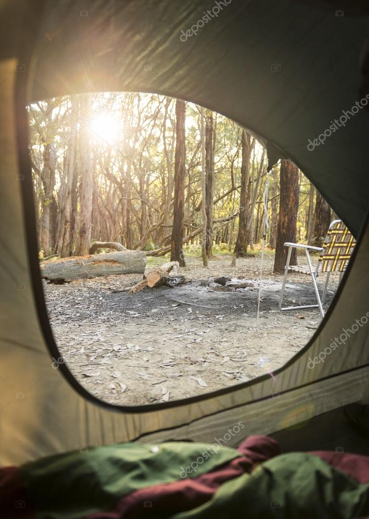 Camping Sunrise Through Tent