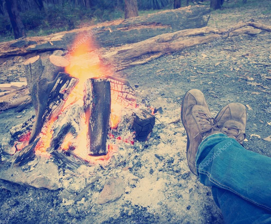 Warming Feet by Campfire Instagram Style
