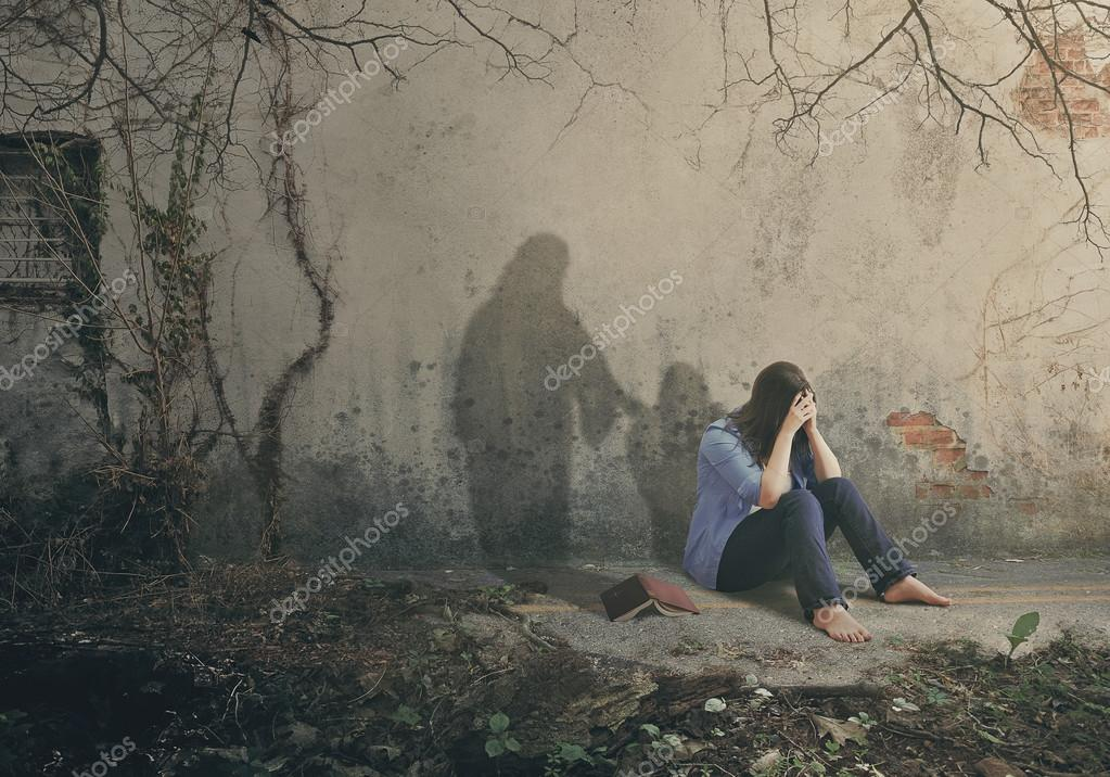 Sad woman and Jesus — Stock Photo