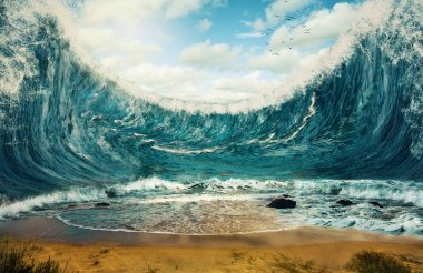 Surreal image of huge waves surrounding dry sand. stock vector