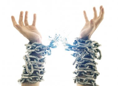 Two hands in chains that are breaking apart. stock vector