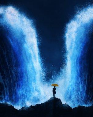 Woman with splitting ocean