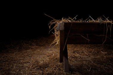 Empty manger at night