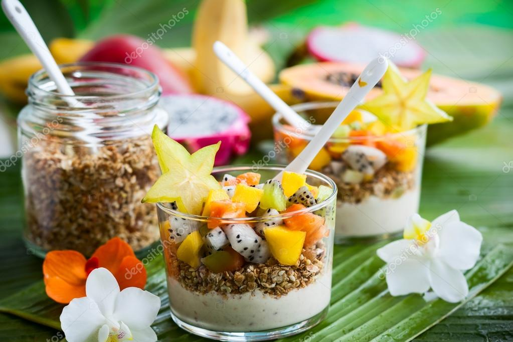 breakfast with exotic fruits