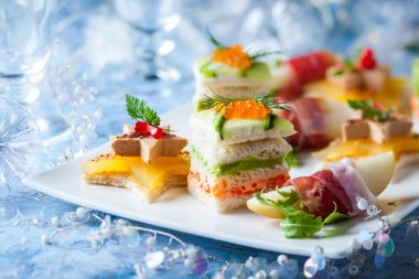 Festive appetizer  on the plate