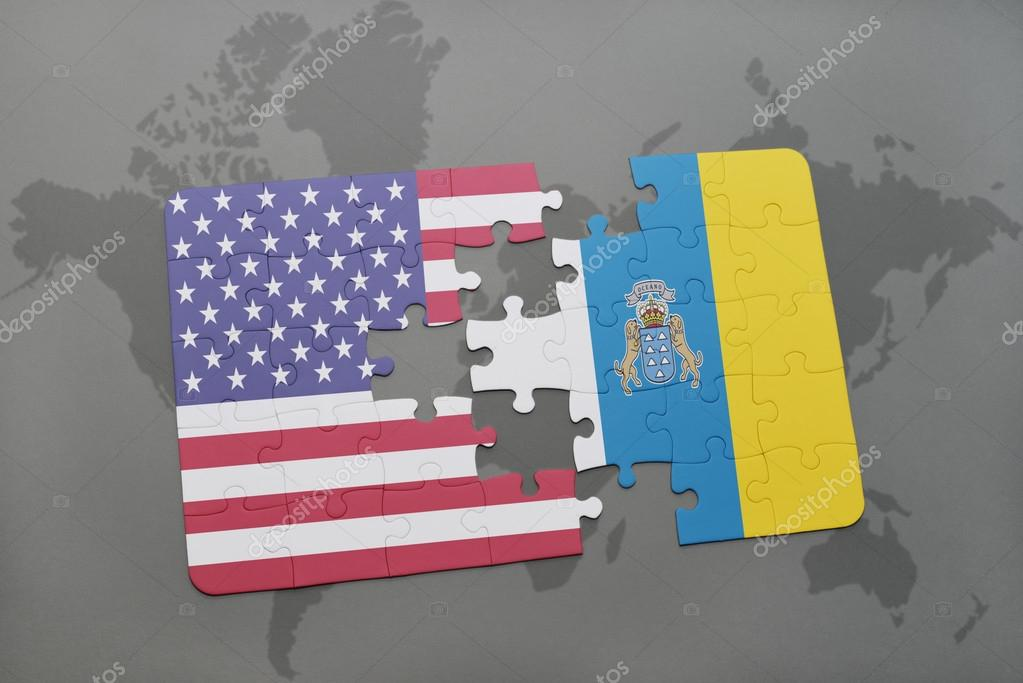 Puzzle with the national flag of united states of america and canary puzzle with the national flag of united states of america and canary islands on a world map background foto de ruletkka gumiabroncs Images