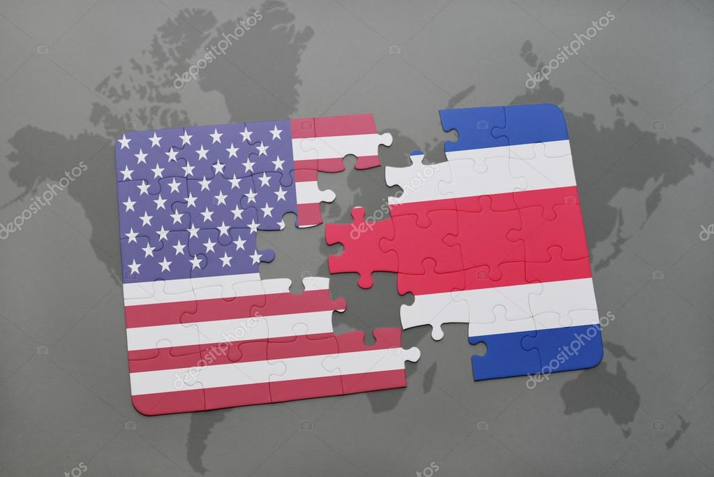 Puzzle with the national flag of united states of america and costa puzzle with the national flag of united states of america and costa rica on a world map background photo by ruletkka gumiabroncs Gallery