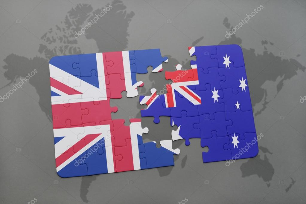 Puzzle with the national flag of great britain and australia on a puzzle with the national flag of great britain and australia on a world map background gumiabroncs Images