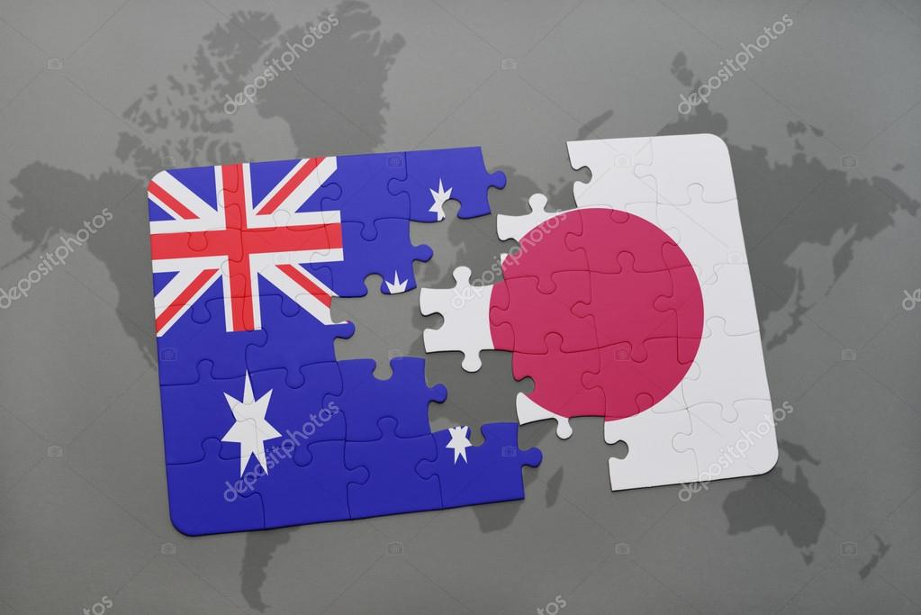 Puzzle with the national flag of australia and japan on a world map puzzle with the national flag of australia and japan on a world map background gumiabroncs Images
