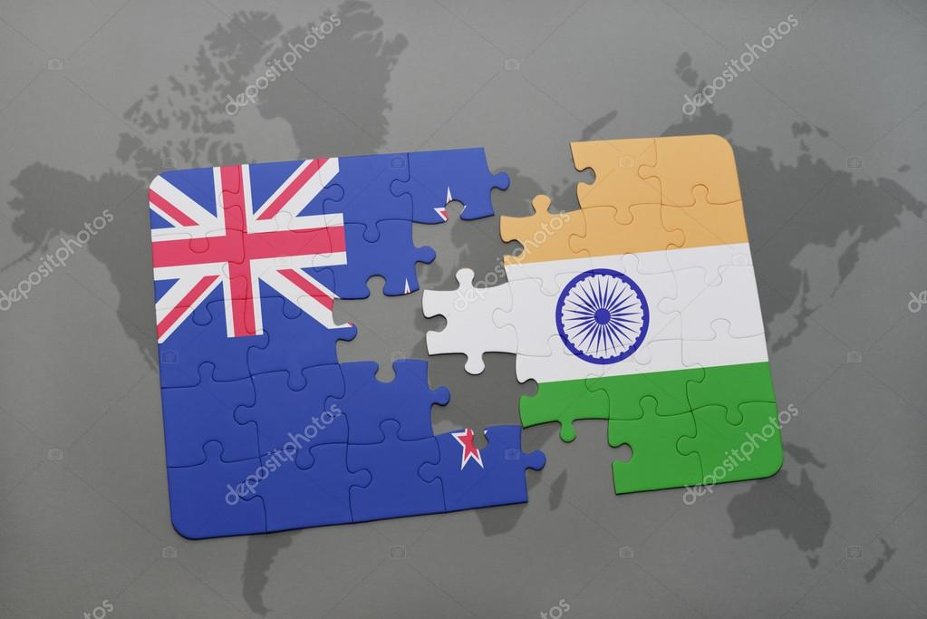 Puzzle with the national flag of new zealand and india on a world puzzle with the national flag of new zealand and india on a world map background gumiabroncs Image collections