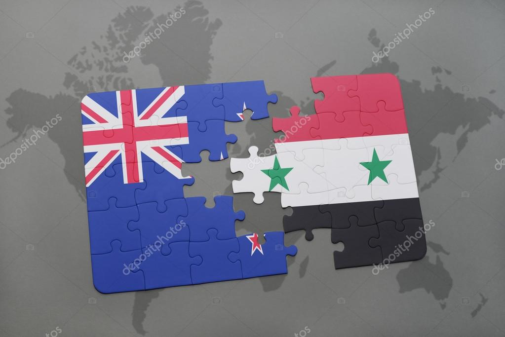 Puzzle with the national flag of new zealand and syria on a world puzzle with the national flag of new zealand and syria on a world map background gumiabroncs Image collections
