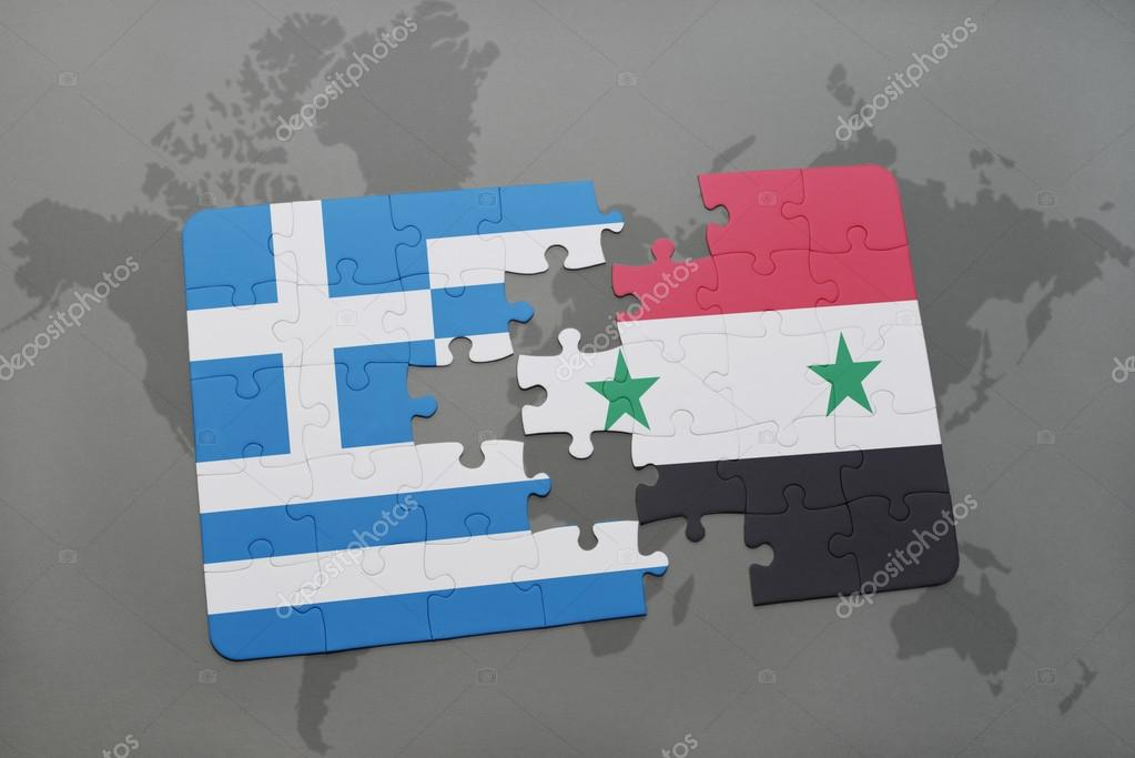 Puzzle with the national flag of greece and syria on a world map puzzle with the national flag of greece and syria on a world map background gumiabroncs Choice Image