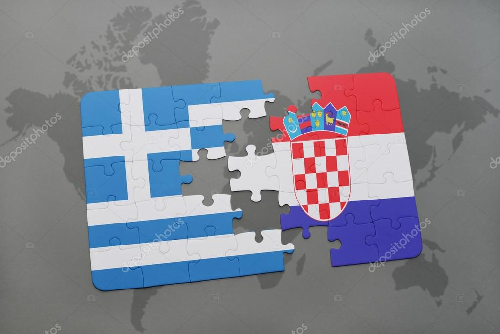 Puzzle with the national flag of greece and croatia on a world map puzzle with the national flag of greece and croatia on a world map background gumiabroncs Images