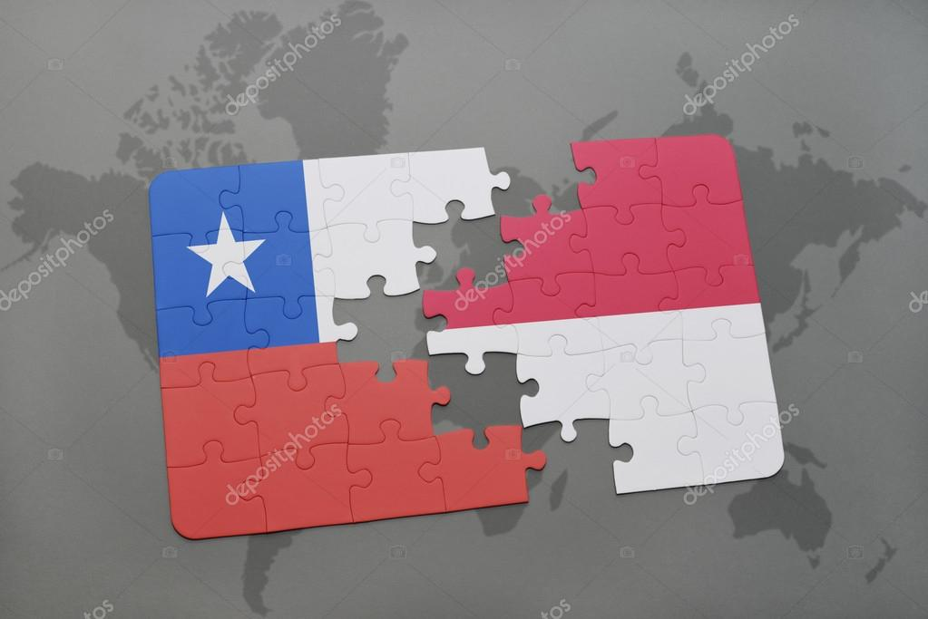 Puzzle with the national flag of chile and indonesia on a world map puzzle with the national flag of chile and indonesia on a world map background 3d illustration foto de ruletkka gumiabroncs Gallery