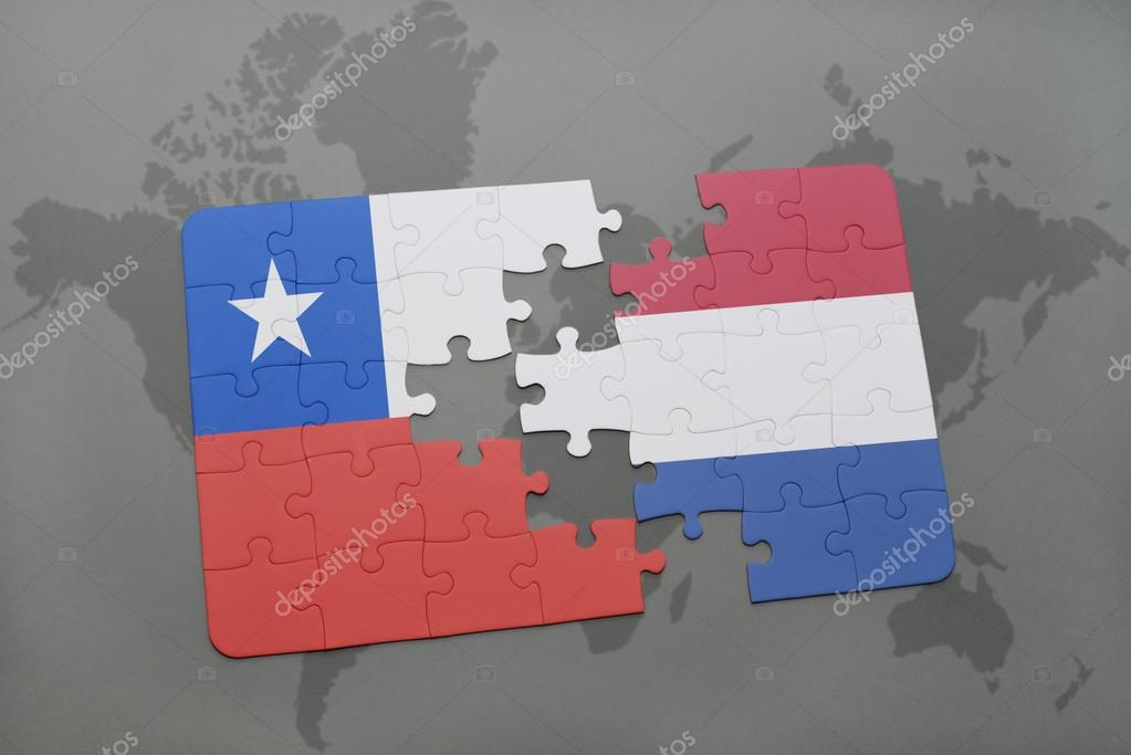 Puzzle with the national flag of chile and netherlands on a world puzzle with the national flag of chile and netherlands on a world map background 3d illustration foto de ruletkka gumiabroncs