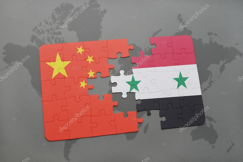 Puzzle with the national flag of china and syria on a world map puzzle with the national flag of china and syria on a world map background 3d illustration foto de ruletkka gumiabroncs