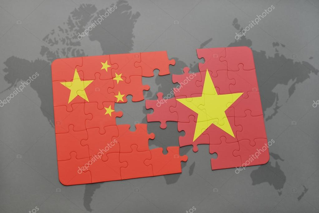 Puzzle with the national flag of china and vietnam on a world map puzzle with the national flag of china and vietnam on a world map background gumiabroncs Images