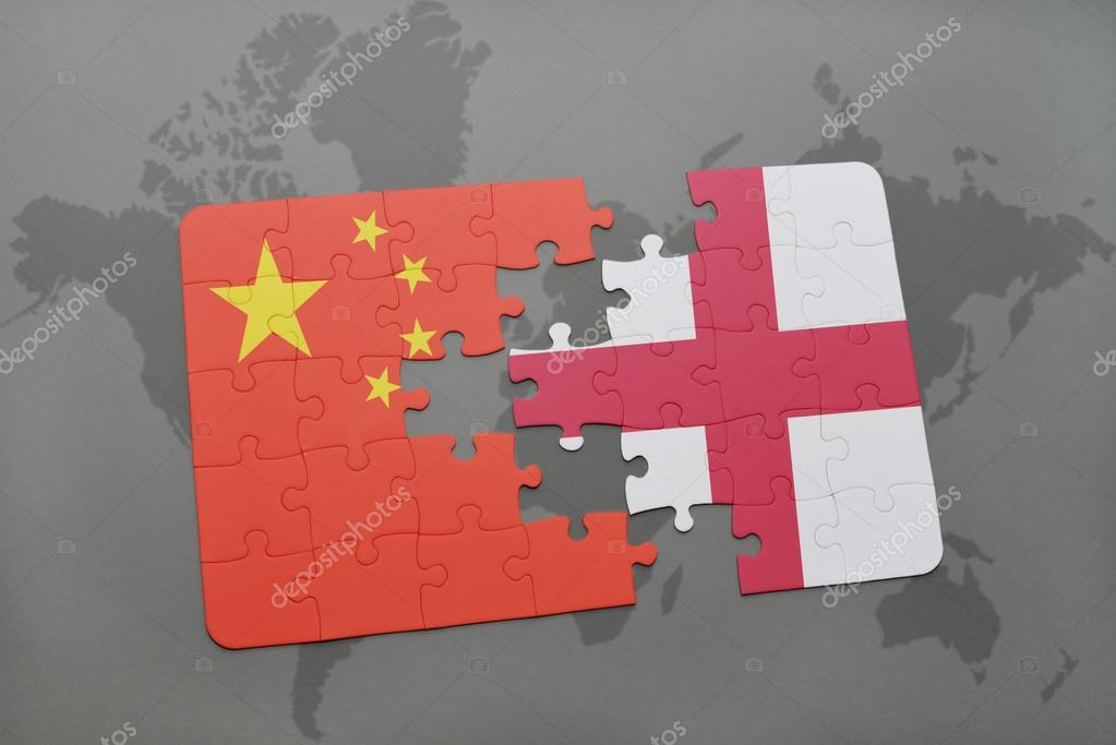 Puzzle with the national flag of china and england on a world map puzzle with the national flag of china and england on a world map background gumiabroncs Gallery