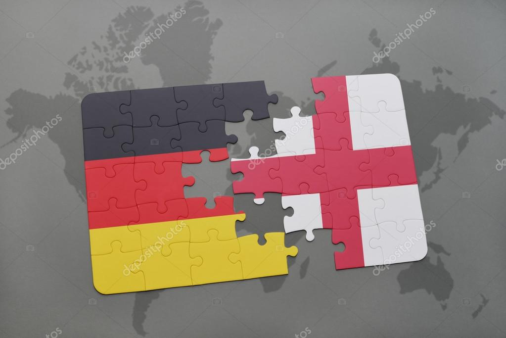 Puzzle with the national flag of germany and england on a world map puzzle with the national flag of germany and england on a world map background gumiabroncs Gallery