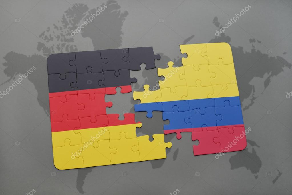 Puzzle with the national flag of germany and colombia on a world map puzzle with the national flag of germany and colombia on a world map background 3d illustration foto de ruletkka gumiabroncs Gallery