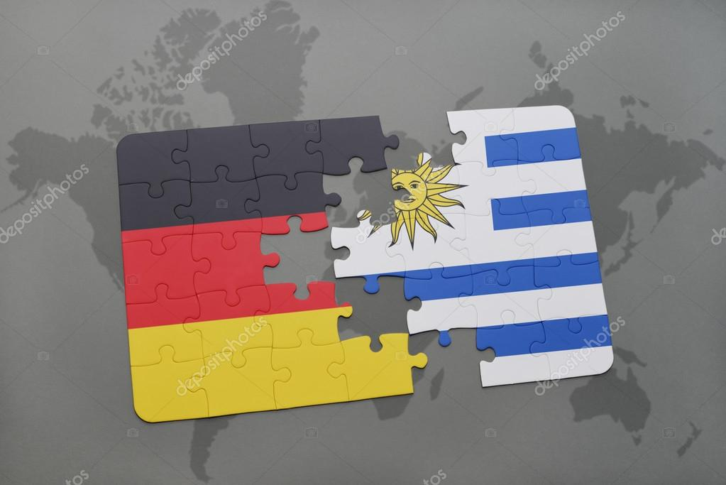 Puzzle with the national flag of germany and uruguay on a world map puzzle with the national flag of germany and uruguay on a world map background gumiabroncs Images