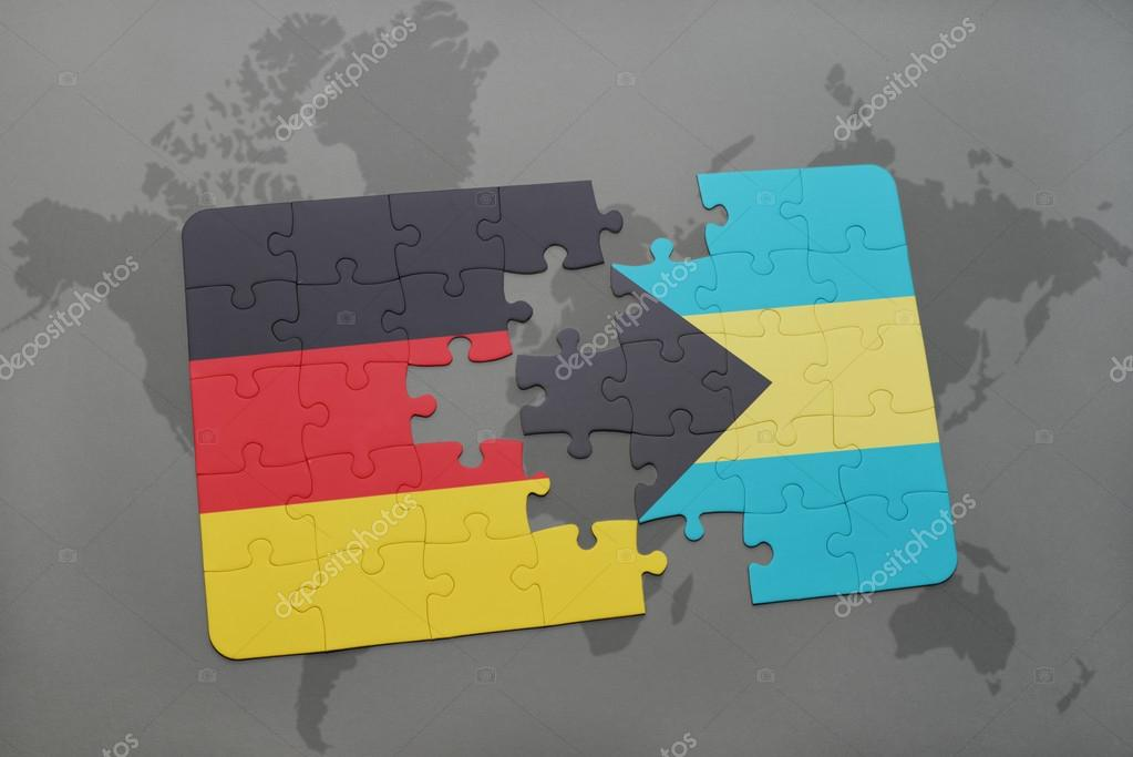 Puzzle with the national flag of germany and bahamas on a world map puzzle with the national flag of germany and bahamas on a world map background gumiabroncs Choice Image