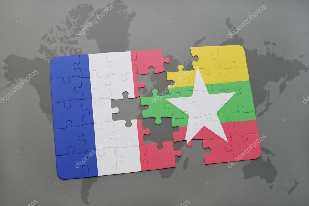 Puzzle with the national flag of france and myanmar on a world map puzzle with the national flag of france and myanmar on a world map background 3d illustration foto de ruletkka gumiabroncs