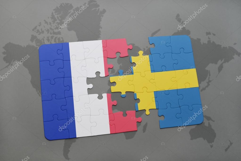 Karta Sverige Frankrike.Pussel Med Den Nationella Flaggan Av Frankrike Och Sverige Pa