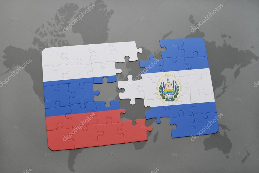Puzzle with the national flag of russia and el salvador on a world puzzle with the national flag of russia and el salvador on a world map background gumiabroncs Image collections