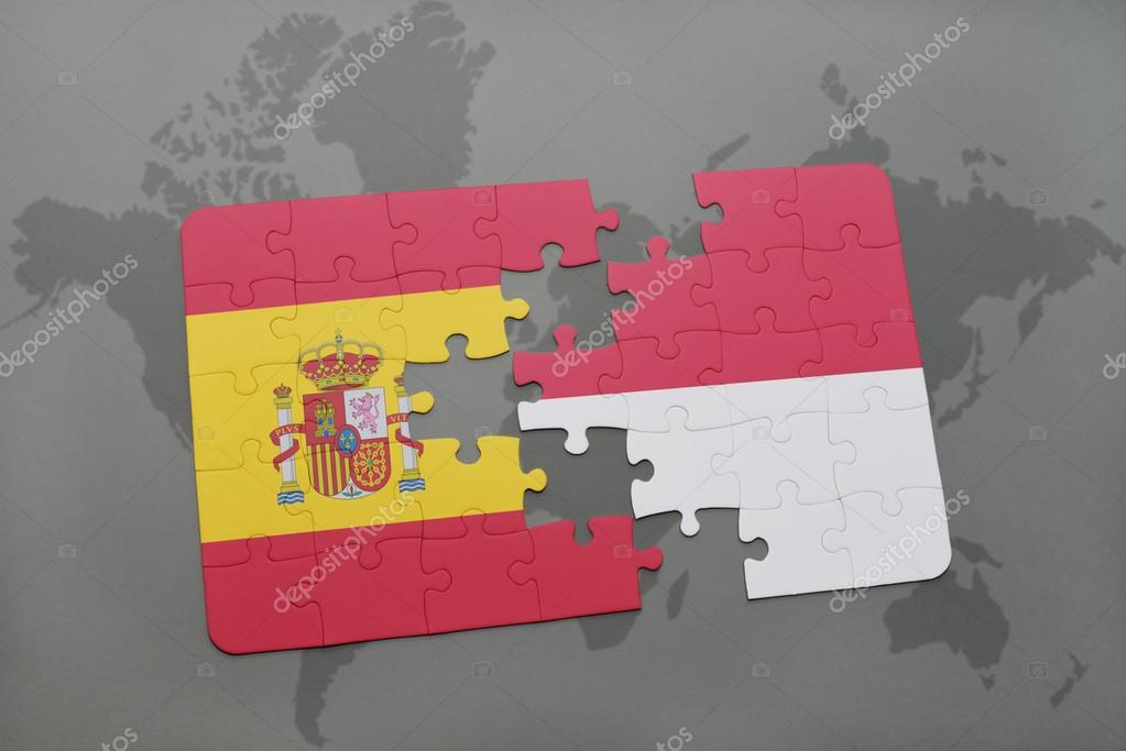 puzzle with the national flag of spain and indonesia on a world map on england on a world map, bering sea on world map, fiji on world map, chile on world map, madagascar on world map, russia on world map, philippines on world map, taiwan on world map, east indies on world map, burma on world map, thailand map, pakistan on world map, republic of congo on world map, a turkey on world map, israel on world map, strait of malacca map, new zealand on a world map, the sudan on world map, jakarta world map, belarus on world map,