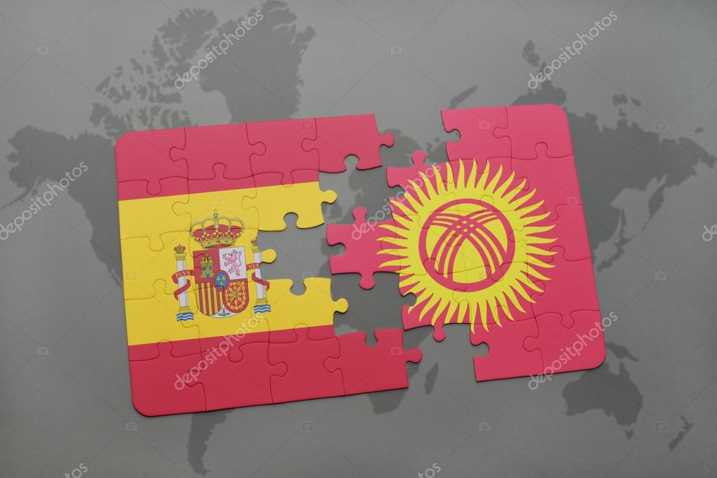 Puzzle with the national flag of spain and kyrgyzstan on a world map puzzle with the national flag of spain and kyrgyzstan on a world map background gumiabroncs Images