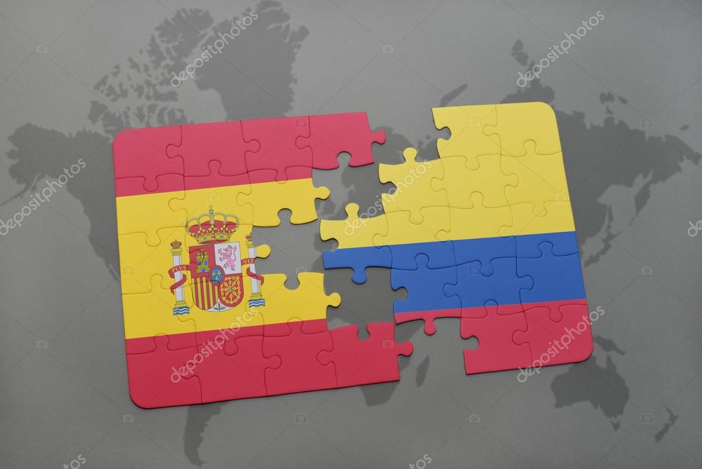 puzzle with the national flag of spain and colombia on a world map ...