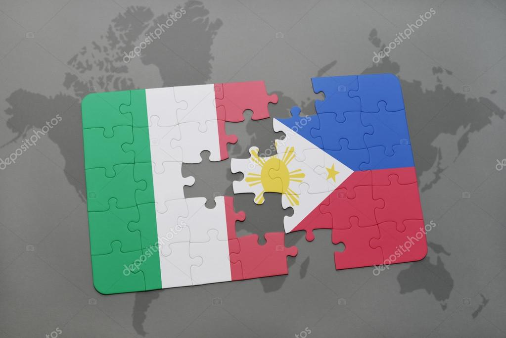 puzzle with the national flag of italy and philippines on a world ...