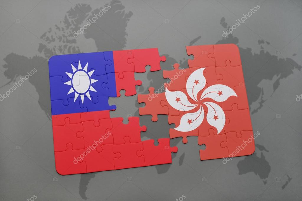 Puzzle with the national flag of taiwan and hong kong on a world map puzzle with the national flag of taiwan and hong kong on a world map background gumiabroncs Choice Image